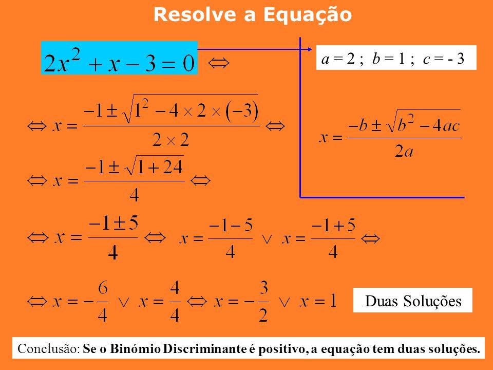 3ª PARTE : Equações do 2º grau COMPLETAS Fórmula Resolvente Dada uma equação do tipo Podemos encontrar as soluções, utilizando a seguinte fórmula: Fór