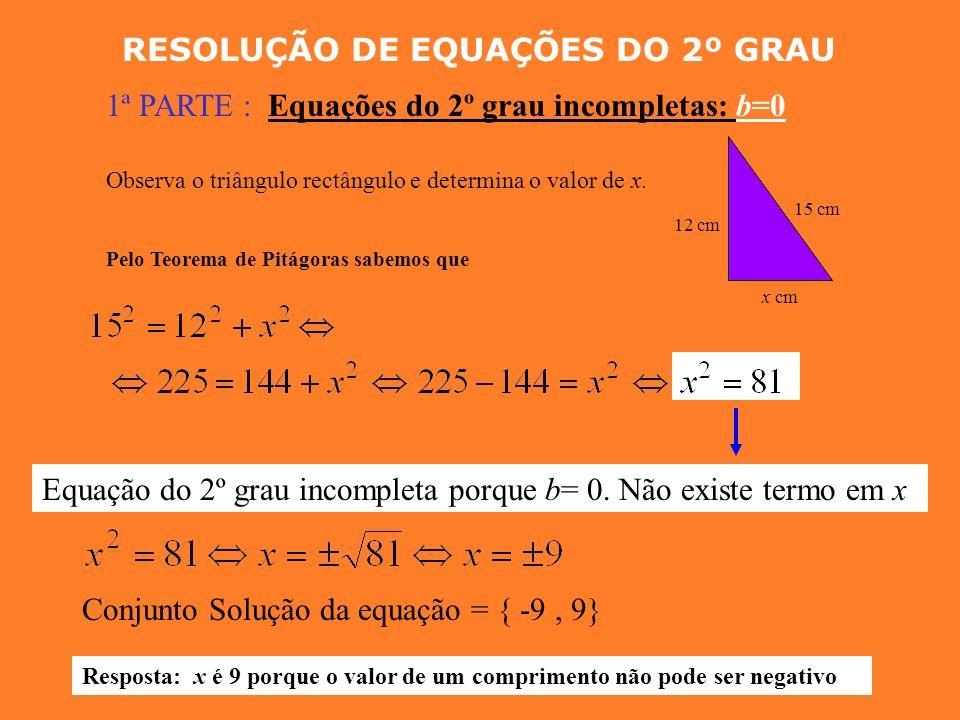 EQUAÇÕES DO 2º GRAU INCOMPLETAS Uma equação do 2º grau pode ser reduzida a uma expressão do tipo * Se b = 0 obtemos a expressão Equação do 2º grau inc