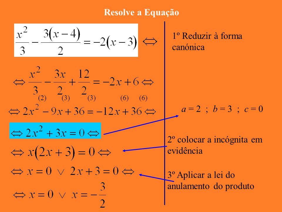 2ª PARTE : Equações do 2º grau incompletas: c =0 a = 7 ; b = 28 ; c = 0 1º colocar a incógnita em evidência 2º Aplicar a lei do anulamento do produto