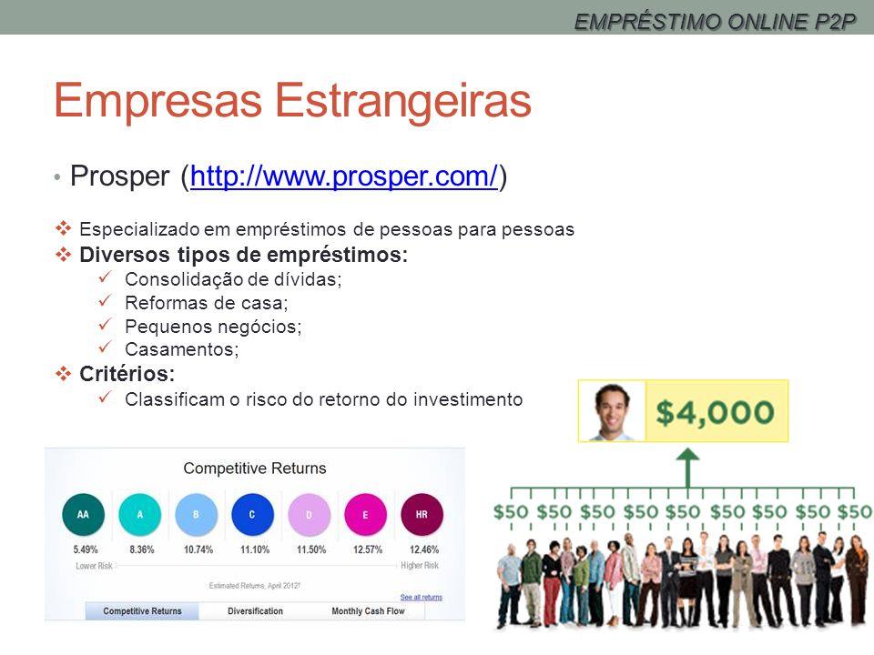 Empresas Estrangeiras Prosper (http://www.prosper.com/)http://www.prosper.com/ Especializado em empréstimos de pessoas para pessoas Diversos tipos de