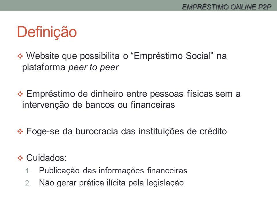 Definição Website que possibilita o Empréstimo Social na plataforma peer to peer Empréstimo de dinheiro entre pessoas físicas sem a intervenção de ban