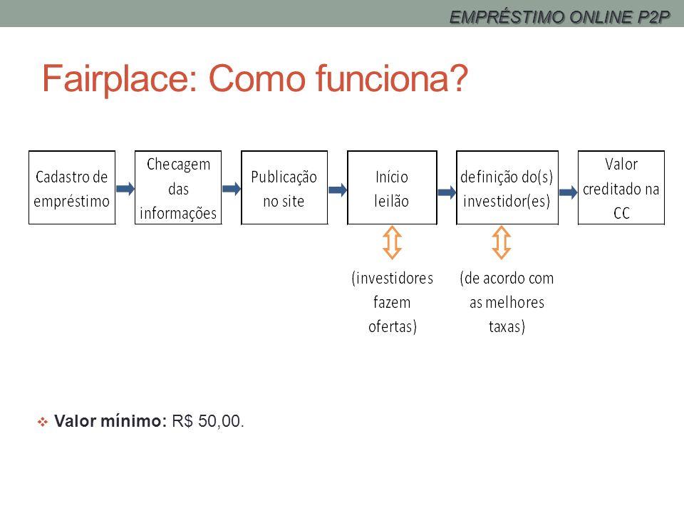 Fairplace: Como funciona? Valor mínimo: R$ 50,00. EMPRÉSTIMO ONLINE P2P