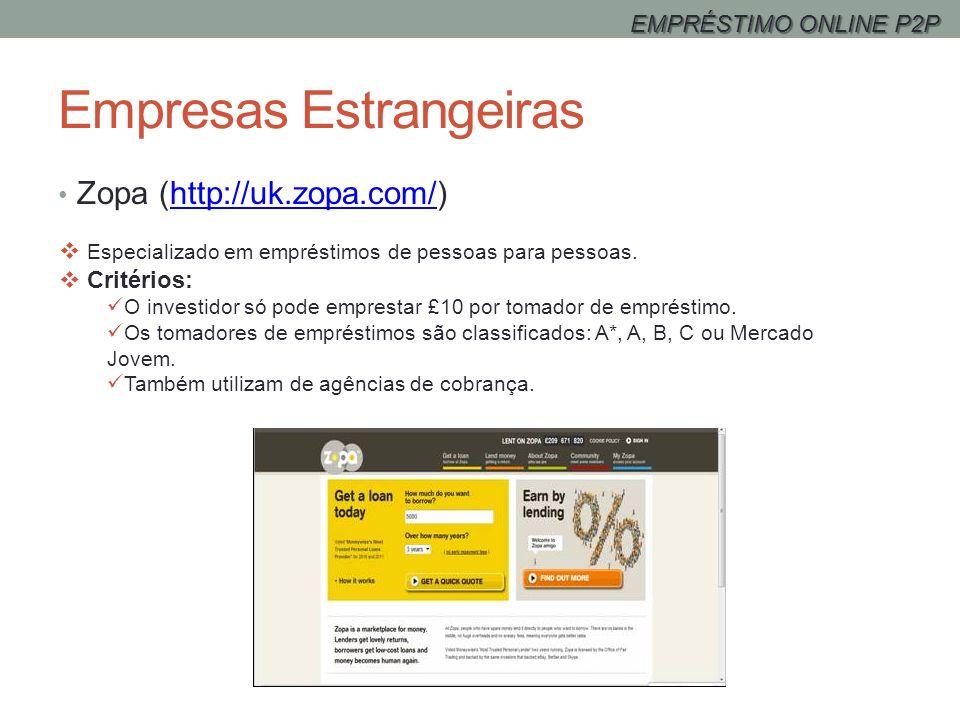 Empresas Estrangeiras Zopa (http://uk.zopa.com/)http://uk.zopa.com/ Especializado em empréstimos de pessoas para pessoas. Critérios: O investidor só p