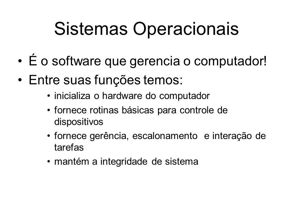 Sistemas Operacionais É o software que gerencia o computador! Entre suas funções temos: inicializa o hardware do computador fornece rotinas básicas pa