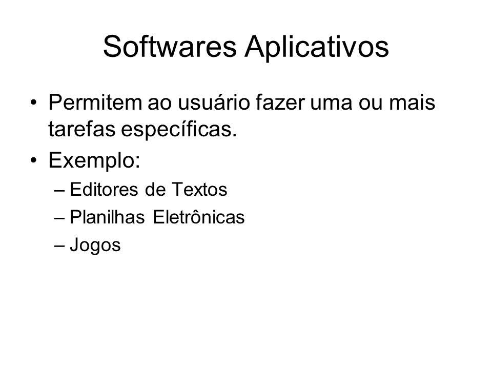 Softwares Aplicativos Permitem ao usuário fazer uma ou mais tarefas específicas. Exemplo: –Editores de Textos –Planilhas Eletrônicas –Jogos