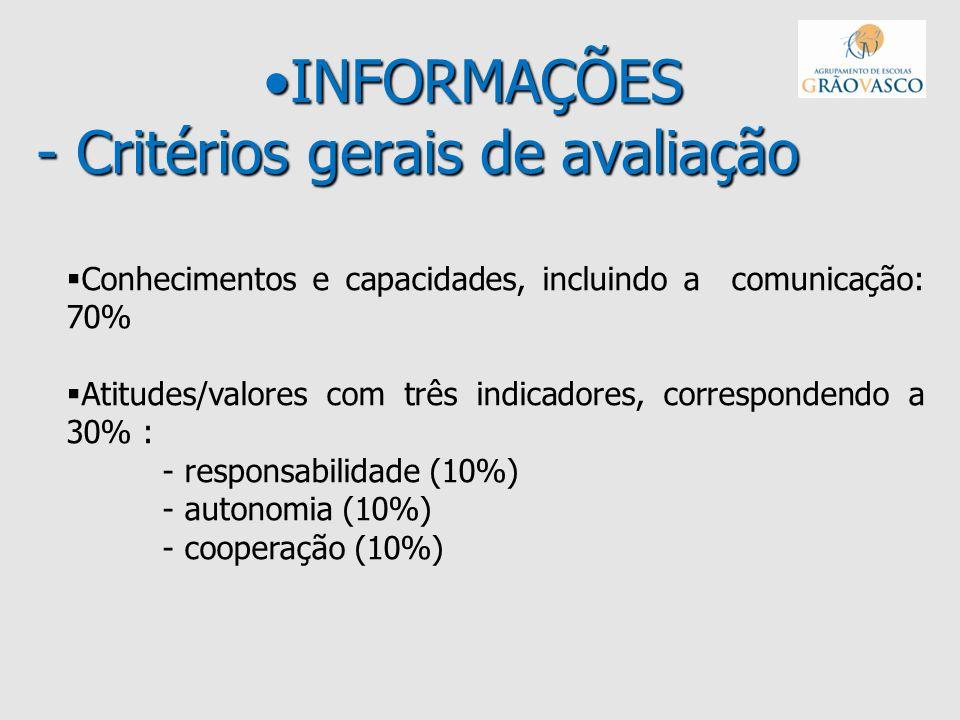 INFORMAÇÕES - Critérios gerais de avaliaçãoINFORMAÇÕES - Critérios gerais de avaliação Conhecimentos e capacidades, incluindo a comunicação: 70% Atitu