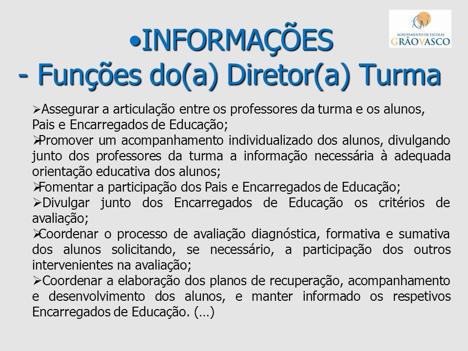 INFORMAÇÕES - Funções do(a) Diretor(a) TurmaINFORMAÇÕES - Funções do(a) Diretor(a) Turma Assegurar a articulação entre os professores da turma e os al