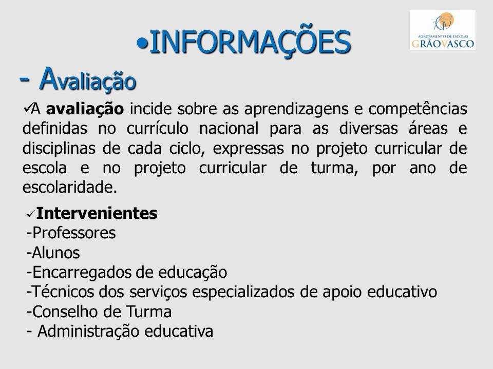 INFORMAÇÕES - A valiaçãoINFORMAÇÕES - A valiação A avaliação incide sobre as aprendizagens e competências definidas no currículo nacional para as dive