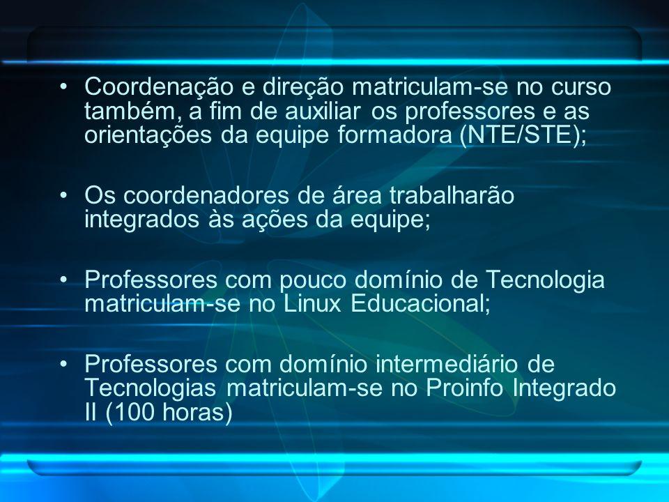 Coordenação e direção matriculam-se no curso também, a fim de auxiliar os professores e as orientações da equipe formadora (NTE/STE); Os coordenadores
