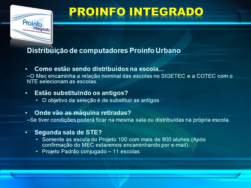 Distribuição de computadores Proinfo Urbano Como estão sendo distribuídos na escola... –O Mec encaminha a relação nominal das escolas no SIGETEC e a C