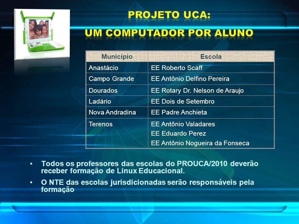 Todos os professores das escolas do PROUCA/2010 deverão receber formação de Linux Educacional. O NTE das escolas jurisdicionadas serão responsáveis pe