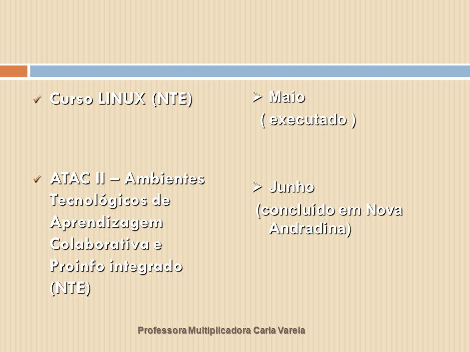 Professora Multiplicadora Carla Varela Curso LINUX (NTE) Curso LINUX (NTE) ATAC II – Ambientes Tecnológicos de Aprendizagem Colaborativa e Proinfo int