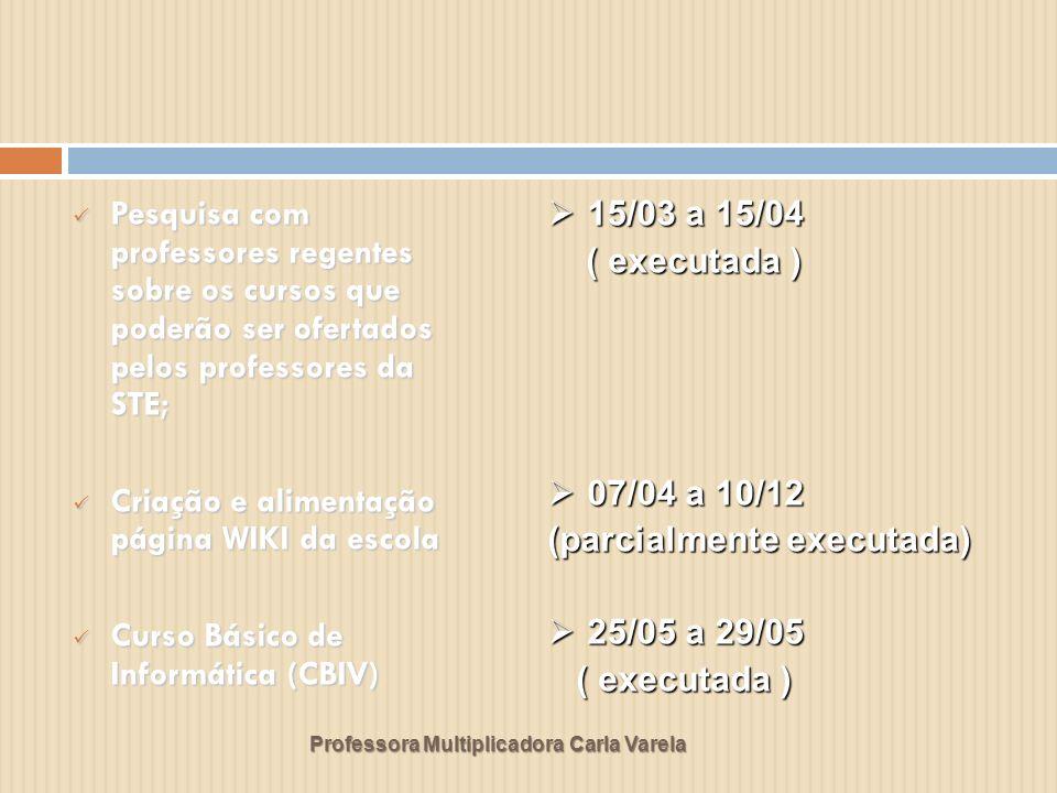 Professora Multiplicadora Carla Varela Pesquisa com professores regentes sobre os cursos que poderão ser ofertados pelos professores da STE; Pesquisa