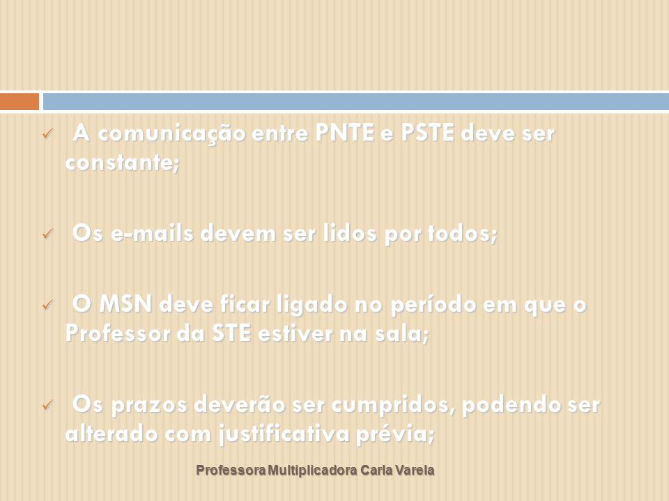 Professora Multiplicadora Carla Varela A comunicação entre PNTE e PSTE deve ser constante; A comunicação entre PNTE e PSTE deve ser constante; Os e-ma