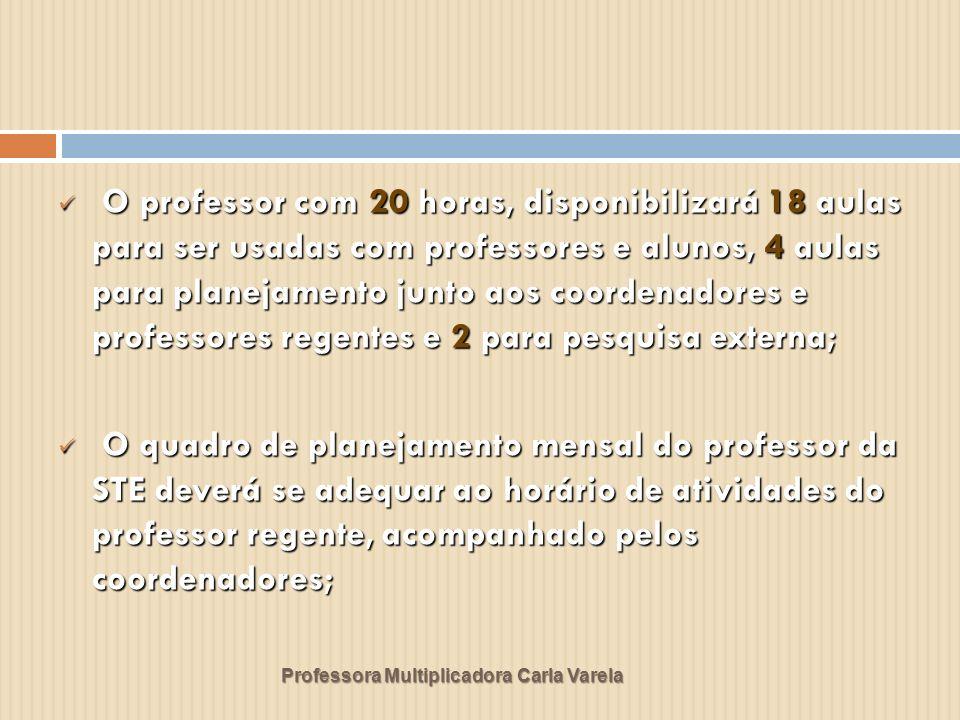 Professora Multiplicadora Carla Varela O professor com 20 horas, disponibilizará 18 aulas para ser usadas com professores e alunos, 4 aulas para plane