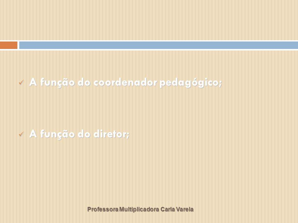 Professora Multiplicadora Carla Varela A função do coordenador pedagógico; A função do coordenador pedagógico; A função do diretor; A função do direto
