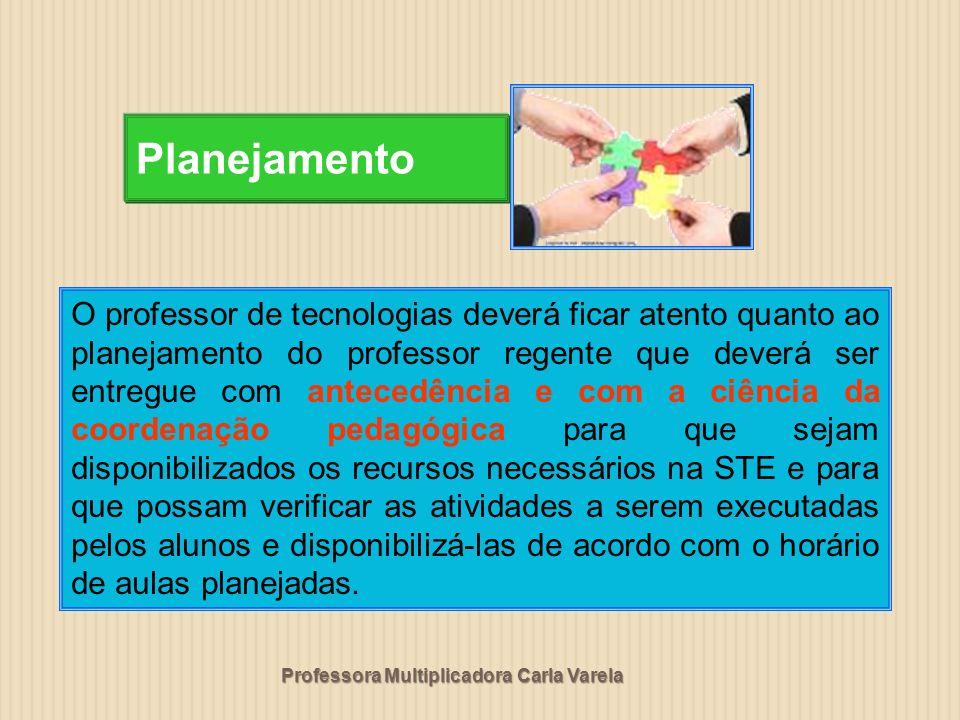 Professora Multiplicadora Carla Varela Planejamento O professor de tecnologias deverá ficar atento quanto ao planejamento do professor regente que dev