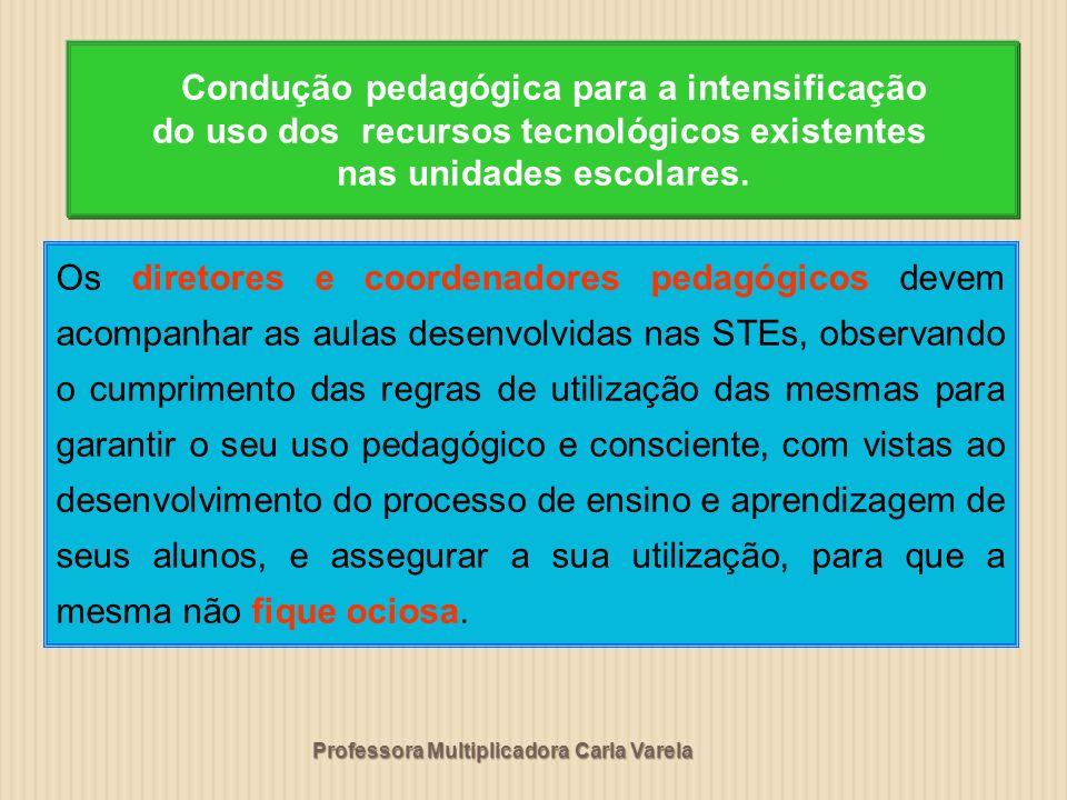 Professora Multiplicadora Carla Varela Os diretores e coordenadores pedagógicos devem acompanhar as aulas desenvolvidas nas STEs, observando o cumprim