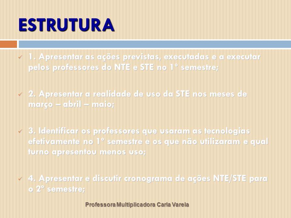 ESTRUTURA Professora Multiplicadora Carla Varela 1. Apresentar as ações previstas, executadas e a executar pelos professores do NTE e STE no 1º semest