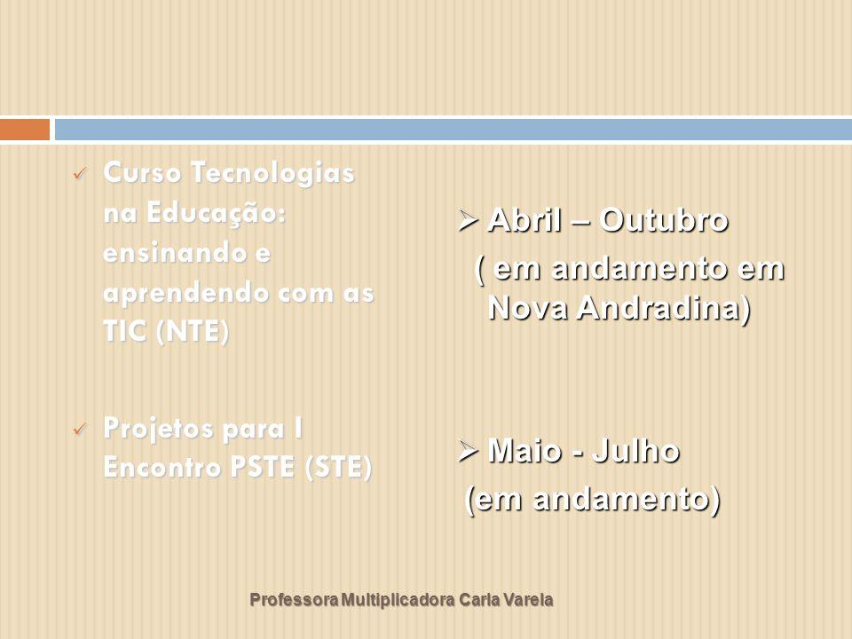 Professora Multiplicadora Carla Varela Curso LINUX (NTE) Curso LINUX (NTE) ATAC II – Ambientes Tecnológicos de Aprendizagem Colaborativa e Proinfo integrado (NTE) ATAC II – Ambientes Tecnológicos de Aprendizagem Colaborativa e Proinfo integrado (NTE) Maio Maio ( executado ) ( executado ) Junho Junho (concluído em Nova Andradina) (concluído em Nova Andradina)
