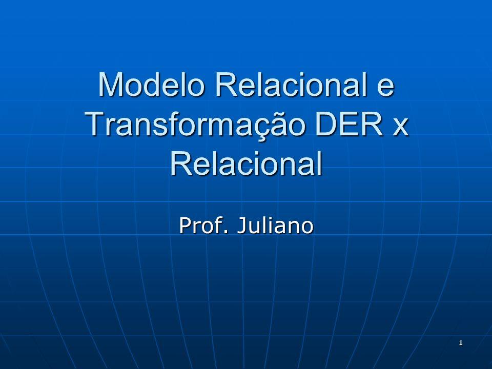 1 Modelo Relacional e Transformação DER x Relacional Prof. Juliano