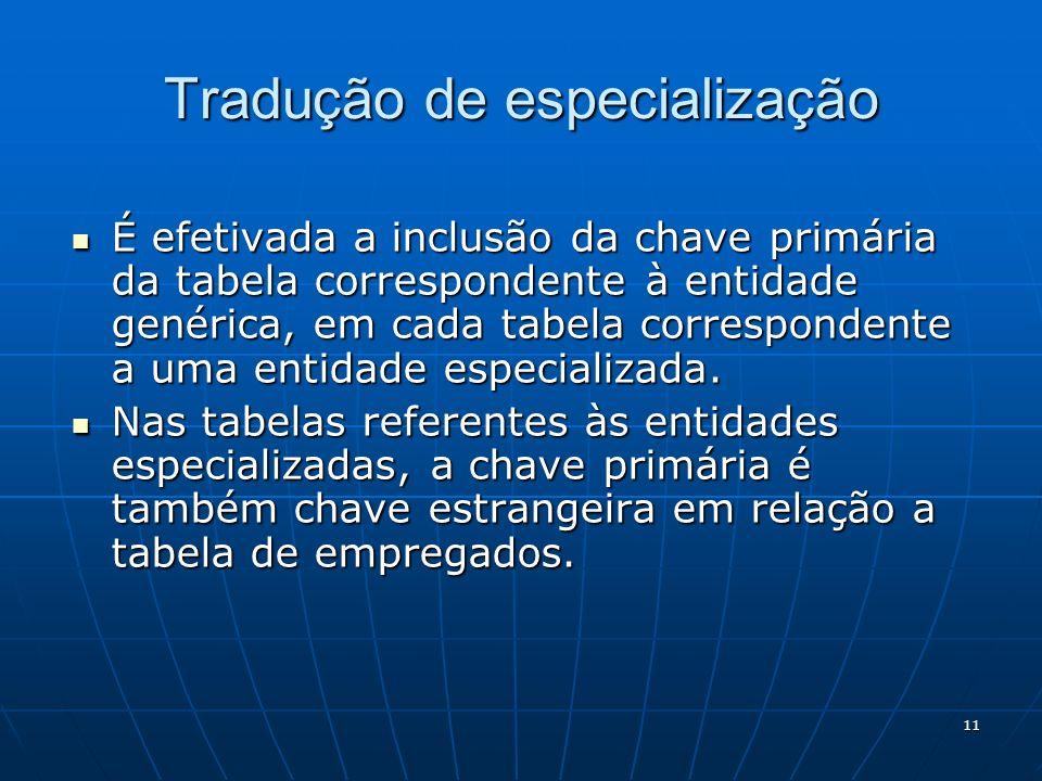 11 Tradução de especialização É efetivada a inclusão da chave primária da tabela correspondente à entidade genérica, em cada tabela correspondente a u