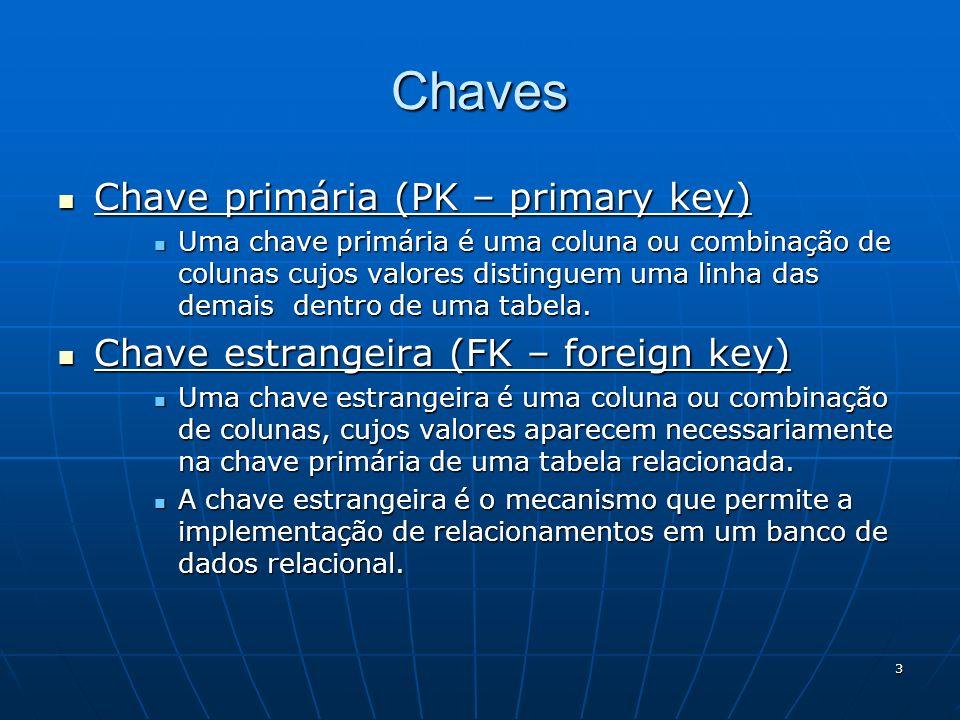 3 Chaves Chave primária (PK – primary key) Chave primária (PK – primary key) Uma chave primária é uma coluna ou combinação de colunas cujos valores di