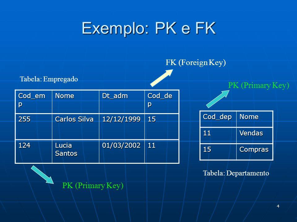 4 Exemplo: PK e FK Cod_em p NomeDt_adm Cod_de p 255 Carlos Silva 12/12/199915 124 Lucia Santos 01/03/200211 FK (Foreign Key) PK (Primary Key) Tabela: