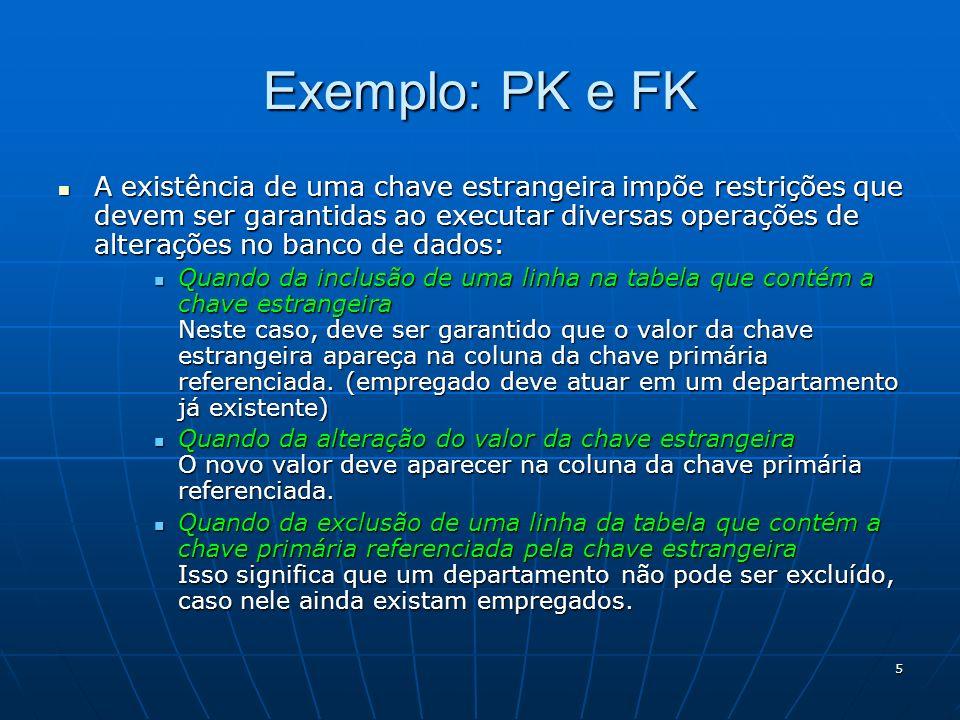 5 A existência de uma chave estrangeira impõe restrições que devem ser garantidas ao executar diversas operações de alterações no banco de dados: A ex