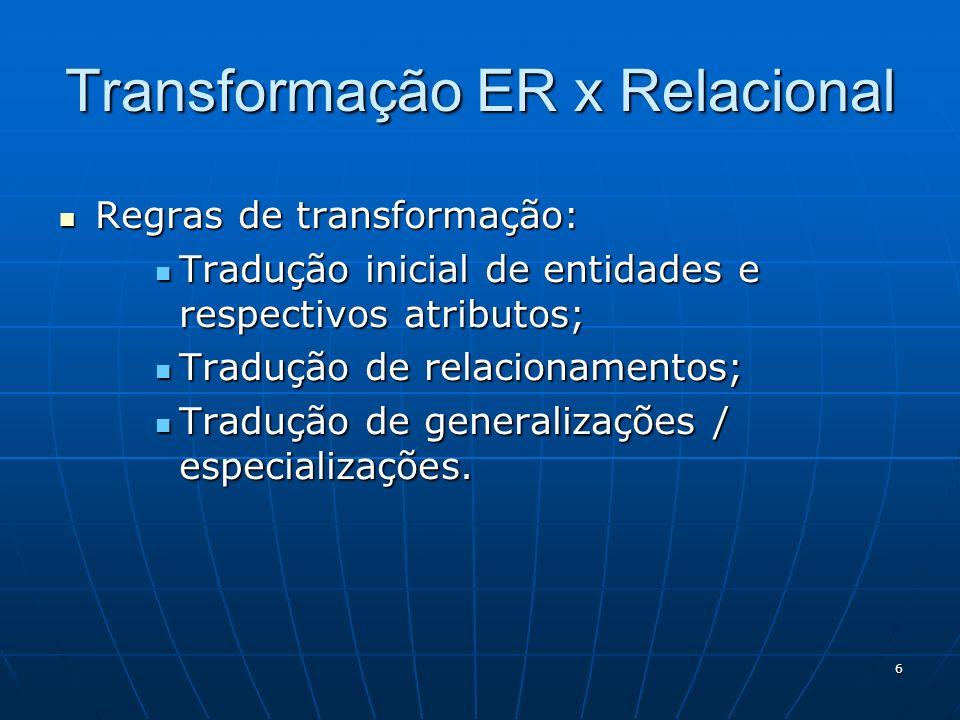 7 Tradução de relacionamentos Relacionamento 1:1 Relacionamento 1:1 A tradução consta de implementar todos os atributos de ambas entidades, bem como os atributos do relacionamento em uma única entidade.