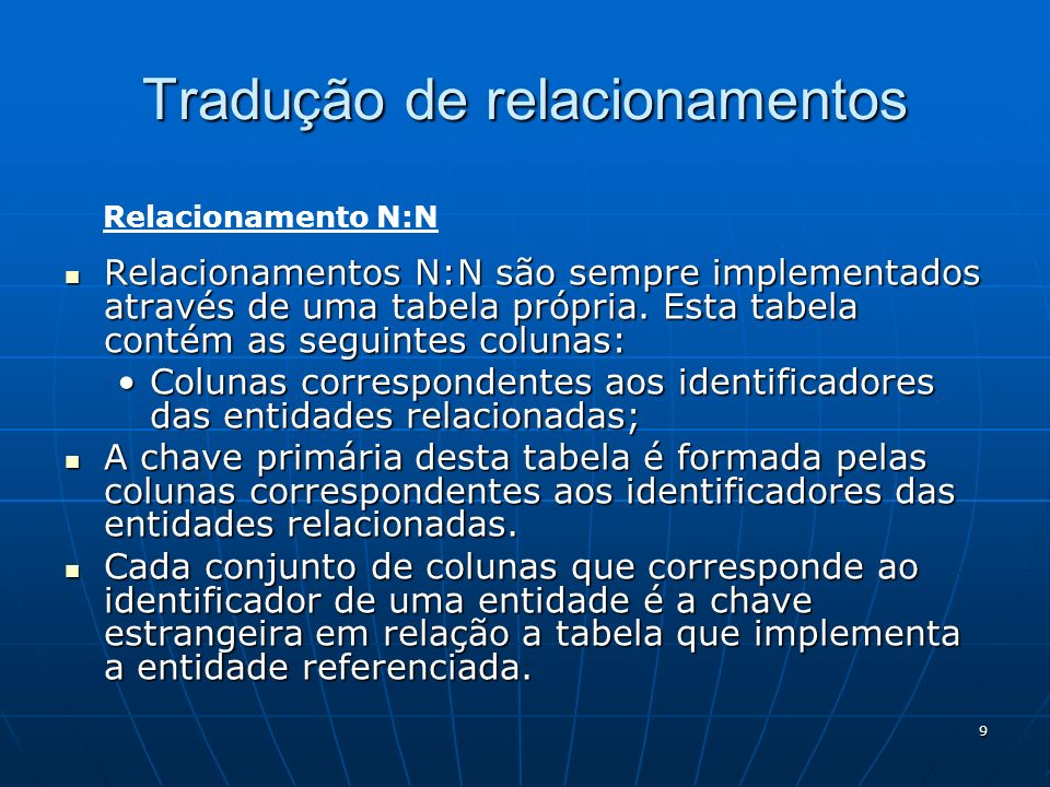 9 Relacionamentos N:N são sempre implementados através de uma tabela própria. Esta tabela contém as seguintes colunas: Relacionamentos N:N são sempre