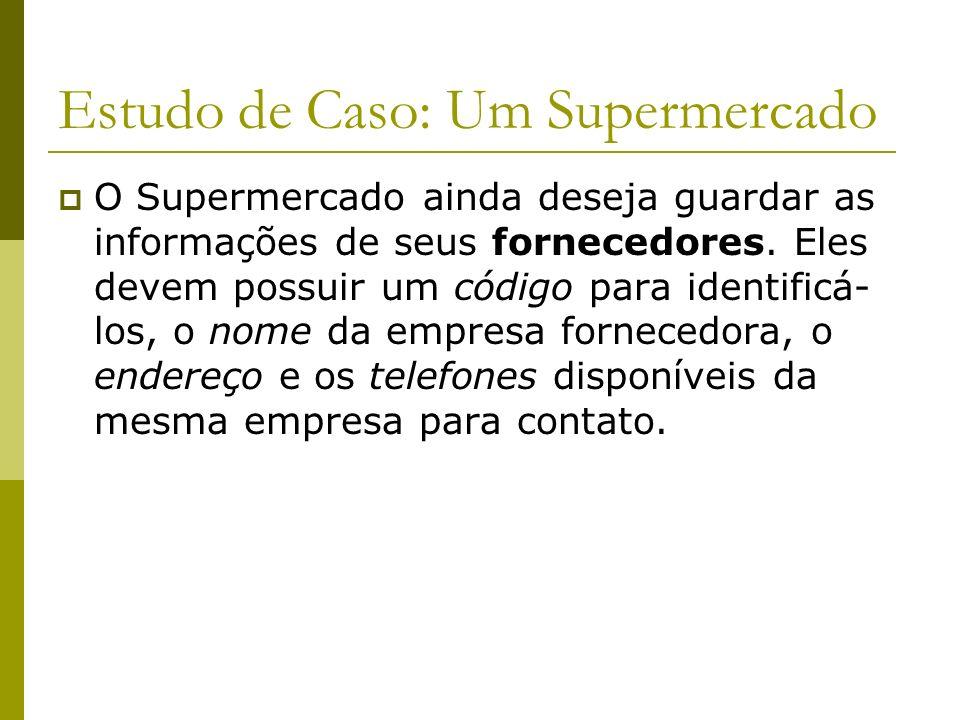 Estudo de Caso: Um Supermercado O Supermercado possui vários funcionários. Esses funcionários são identificados por um código. Ainda serão registrados