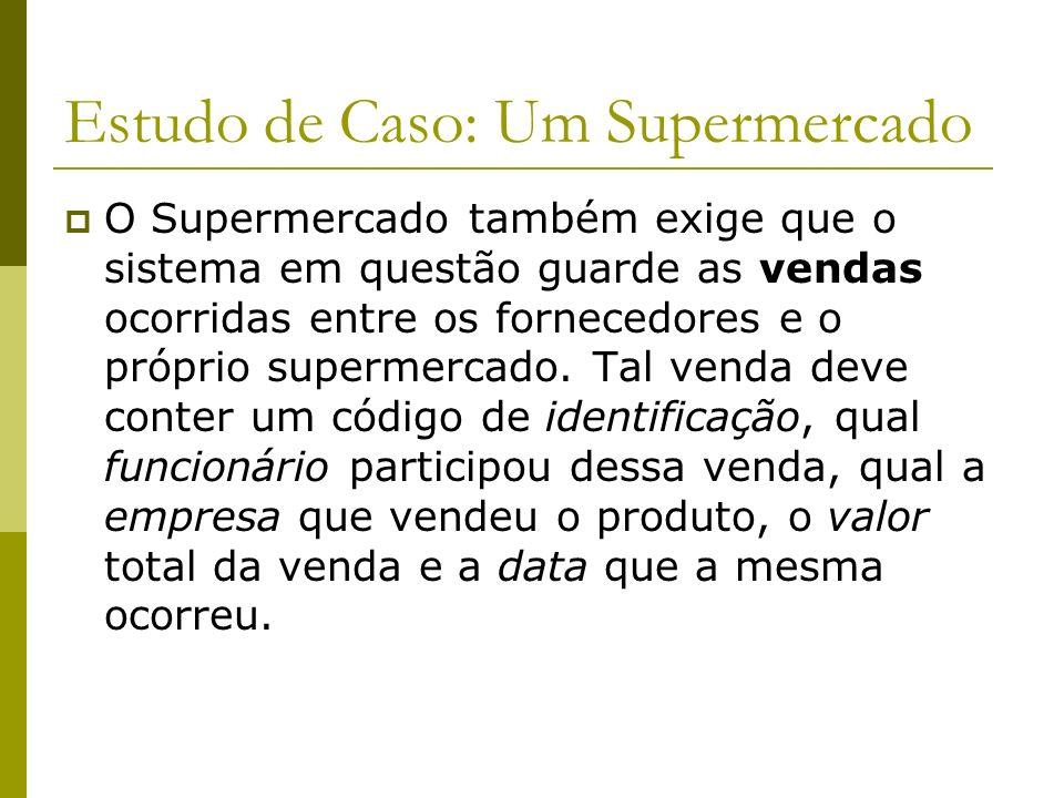 Estudo de Caso: Um Supermercado O Supermercado ainda deseja guardar as informações de seus fornecedores. Eles devem possuir um código para identificá-