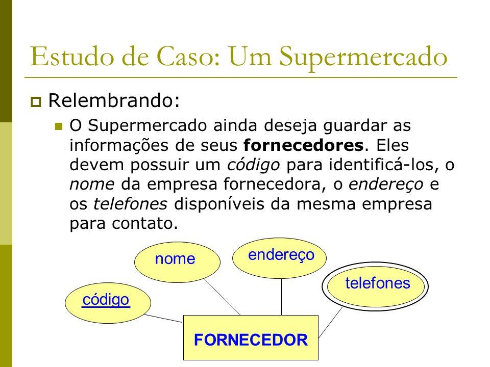 Estudo de Caso: Um Supermercado Relembrando: O Supermercado possui vários funcionários. Esses funcionários são identificados por um código. Ainda serã