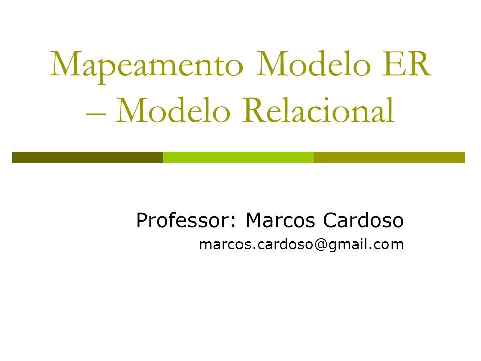 E-R / Relacional Um esquema relacional pode ser facilmente derivado de um esquema conceitual desenvolvido usando o modelo E-R Seja o exemplo de modelagem E-R a seguir