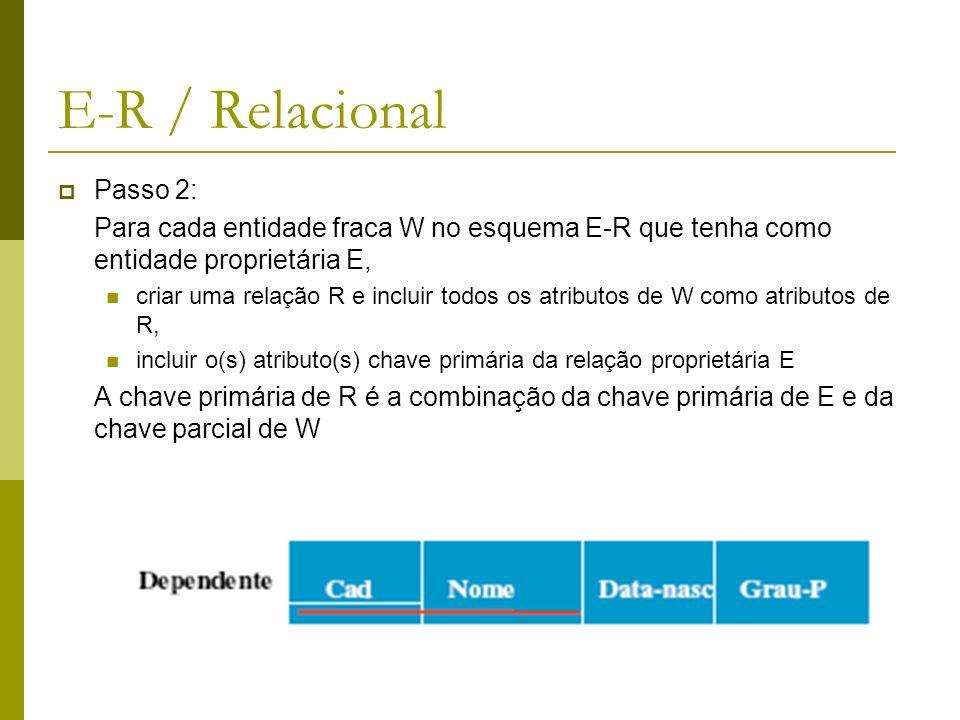Passo 3: Para cada relacionamento R de 1:1 no esquema ER, identificar as relações das entidades participando do relacionamento R, escolher uma das relações e incluir como chave estrangeira, a chave primária da outra relação, incluir todos os atributos do relacionamento na relação escolhida