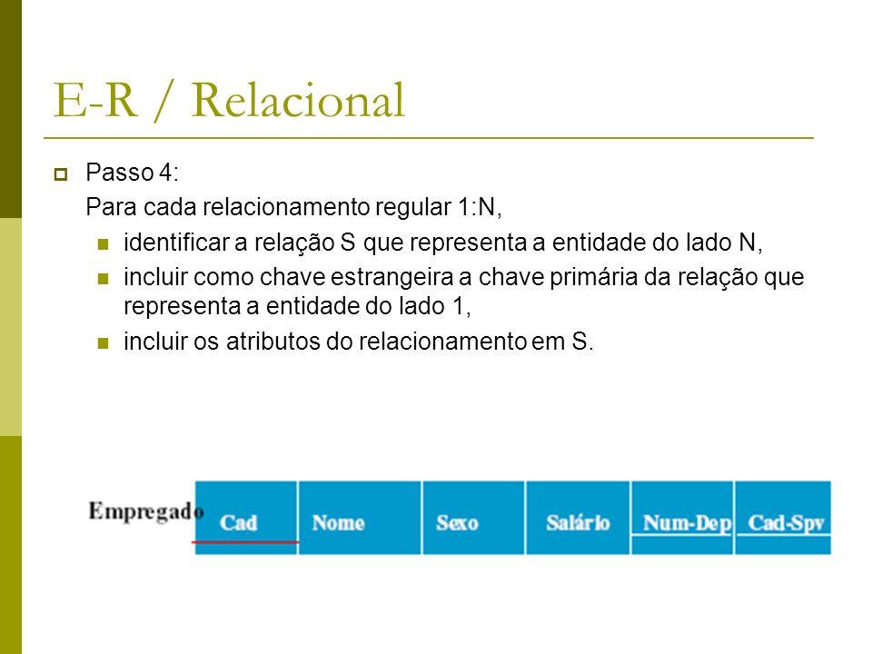 E-R / Relacional Passo 5: Para cada relacionamento R de M:N, criar uma nova relação para representar R, incluir como chave estrangeira as chaves primárias das relações que participam em R, estas chaves combinadas formarão a chave primária da relação, incluir também eventuais atributos de R.
