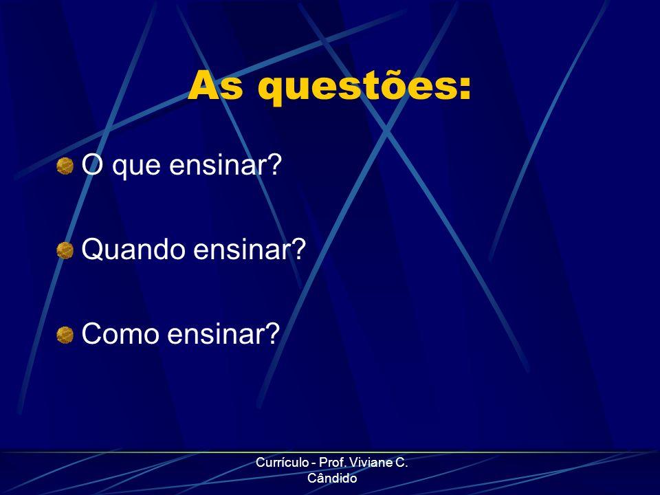 Currículo - Prof. Viviane C. Cândido As questões: O que ensinar? Quando ensinar? Como ensinar?
