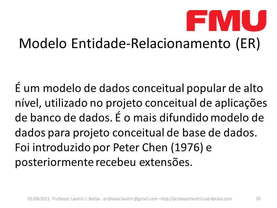 Modelo Entidade-Relacionamento (ER) 01/08/2011 Professor Leomir J. Borba- professor.leomir@gmail.com –http://professorleomir.wordpress.com 10 É um mod