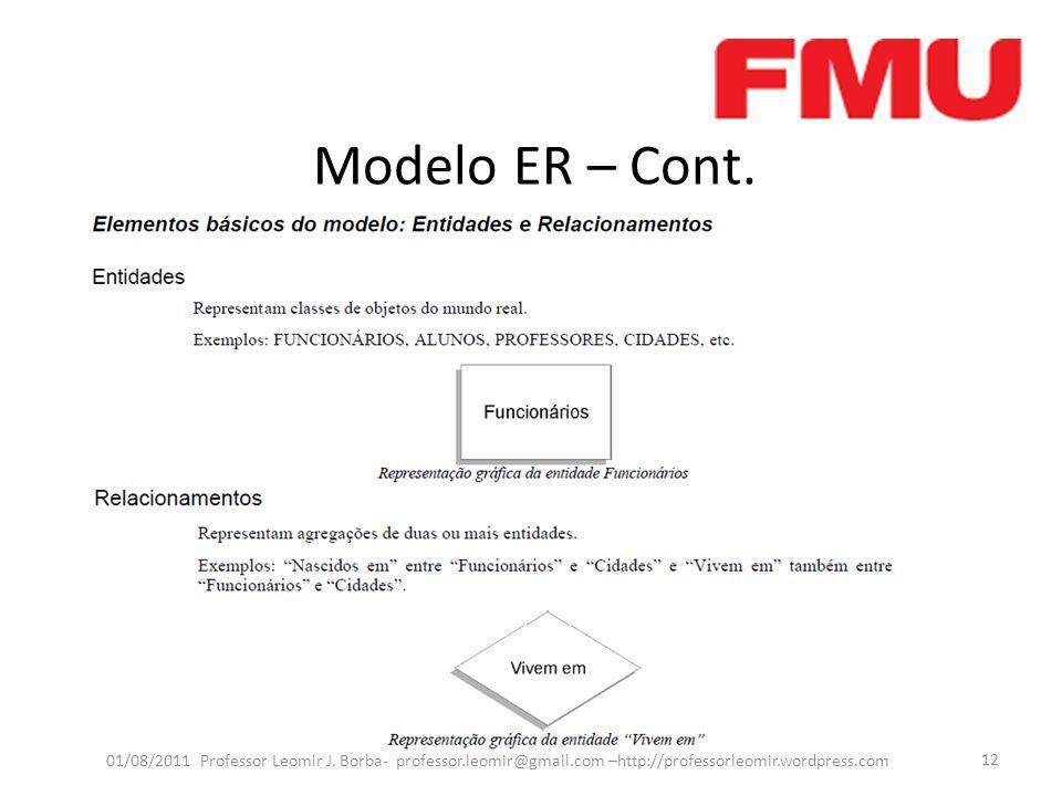 Modelo ER – Cont. 01/08/2011 Professor Leomir J. Borba- professor.leomir@gmail.com –http://professorleomir.wordpress.com 12
