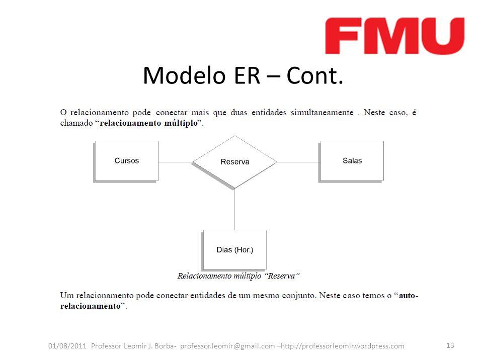 Modelo ER – Cont. 01/08/2011 Professor Leomir J. Borba- professor.leomir@gmail.com –http://professorleomir.wordpress.com 13