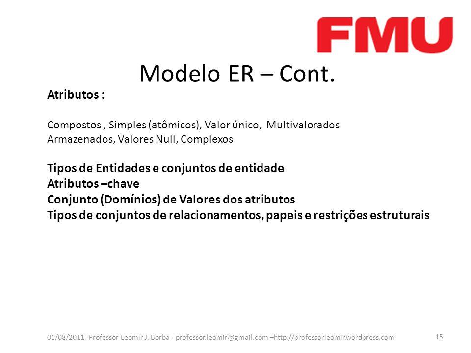 Modelo ER – Cont. 01/08/2011 Professor Leomir J. Borba- professor.leomir@gmail.com –http://professorleomir.wordpress.com 15 Atributos : Compostos, Sim