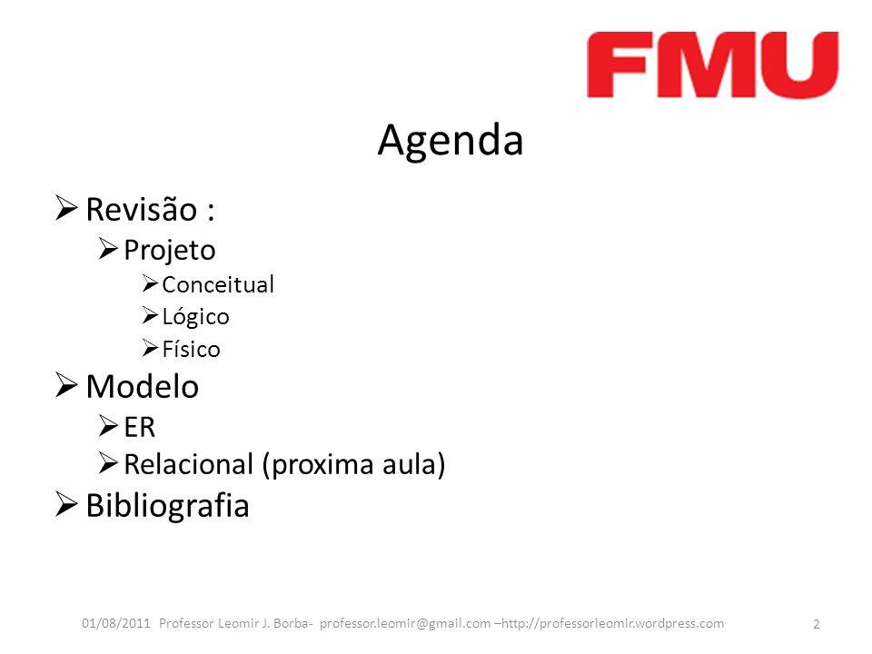 Agenda Revisão : Projeto Conceitual Lógico Físico Modelo ER Relacional (proxima aula) Bibliografia 2 01/08/2011 Professor Leomir J. Borba- professor.l