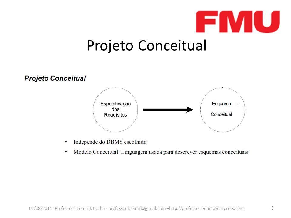 Projeto Conceitual 01/08/2011 Professor Leomir J. Borba- professor.leomir@gmail.com –http://professorleomir.wordpress.com 3