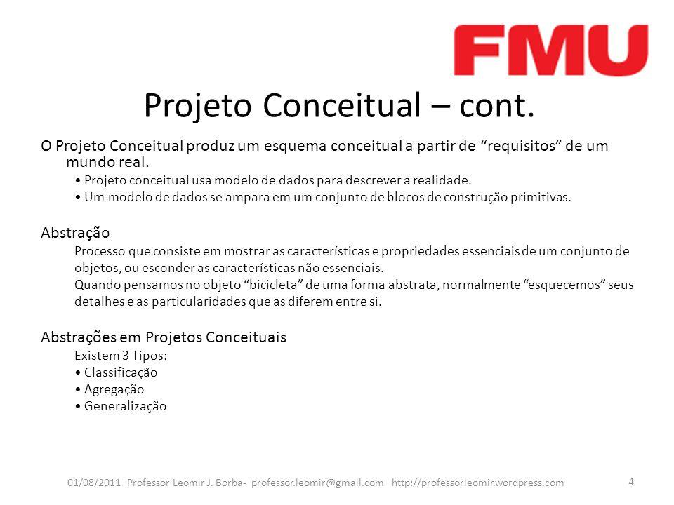 Projeto Conceitual – cont. O Projeto Conceitual produz um esquema conceitual a partir de requisitos de um mundo real. Projeto conceitual usa modelo de