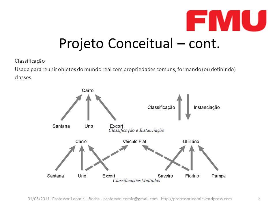 Projeto Conceitual – cont. 01/08/2011 Professor Leomir J. Borba- professor.leomir@gmail.com –http://professorleomir.wordpress.com 5 Classificação Usad