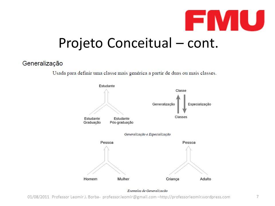 Projeto Conceitual – cont. 01/08/2011 Professor Leomir J. Borba- professor.leomir@gmail.com –http://professorleomir.wordpress.com 7