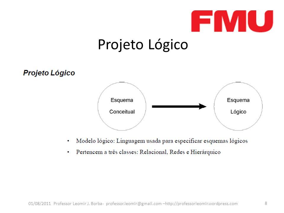 Projeto Lógico 01/08/2011 Professor Leomir J. Borba- professor.leomir@gmail.com –http://professorleomir.wordpress.com 8