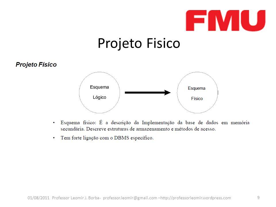 Modelo Entidade-Relacionamento (ER) 01/08/2011 Professor Leomir J.