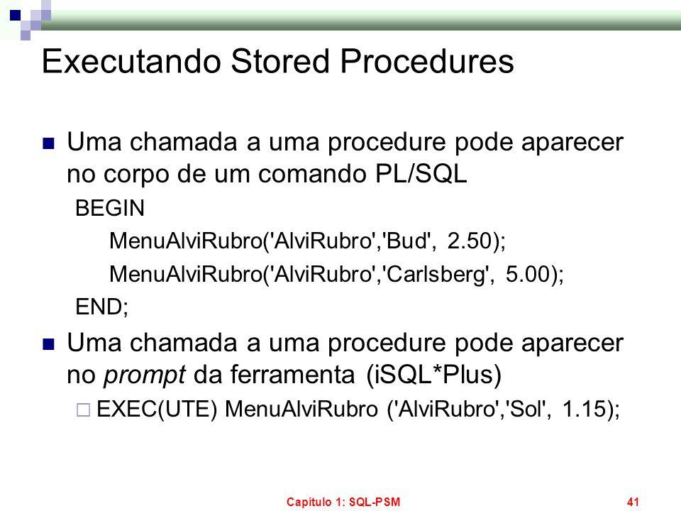 Capítulo 1: SQL-PSM41 Executando Stored Procedures Uma chamada a uma procedure pode aparecer no corpo de um comando PL/SQL BEGIN MenuAlviRubro('AlviRu